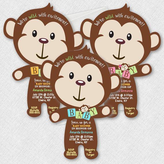 #babyshower #monkey #junglebabyshower Monkey Baby Shower Invitations Jungle by newyorkinvitations