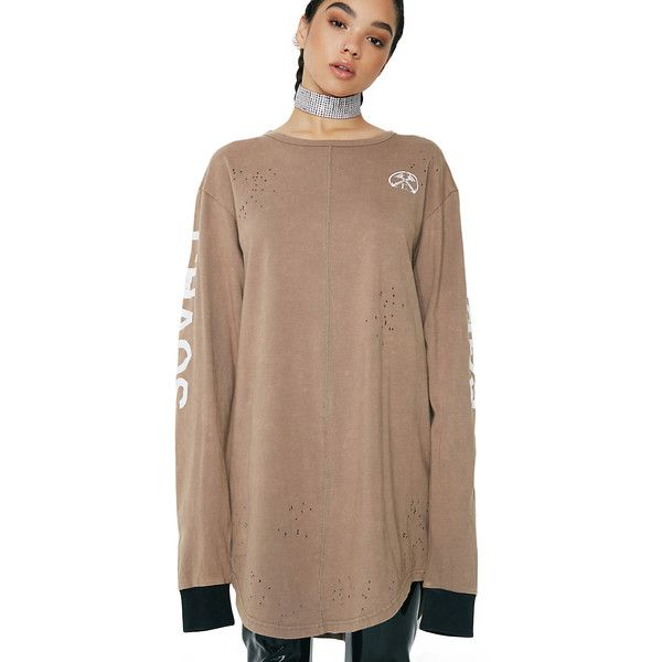 Civil Clothing Brown Chaos Long Sleeve Graphic Tee ($45) ❤ liked on Polyvore featuring tops, t-shirts, graphic tees, graphic print tees, long sleeve tees, brown long sleeve t shirt and long sleeve tops