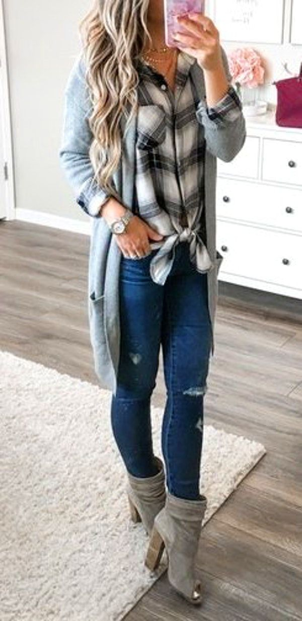 fall outfits women\u0027s gray cardigan