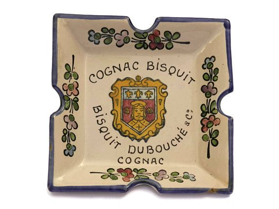 French Cognac Bisquit Advertising Ashtray. Vintage French