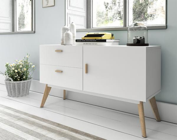 Contemporary white sideboard with oak legs 1 door and 2 drawers