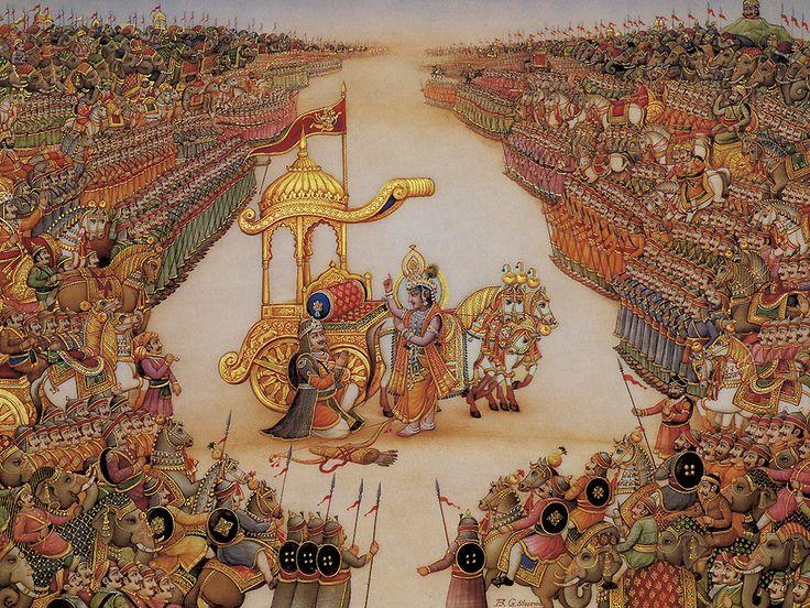 BATTLE OF KURUKHSETRA (Bhagavad Gita) - Krishna and Pandava prince Arjun...(1,/ 20, 22 23} अथ व्यवस्थितान्दृष्ट्वा धार्तराष्ट्रान् कपिध्वजः ।  प्रवृत्ते शस्त्रसम्पाते धनुरुद्यम्य पाण्डवः ॥   हृषीकेशं तदा वाक्यमिदमाह महीपते ।  सेनयोरुभयोर्मध्ये रथं स्थापय मेऽच्युत ॥ Seeing your sons standing and the war about to begin with the hurling of weapons; Arjuna, took up his bow and spoke these words to Lord Krishna:
