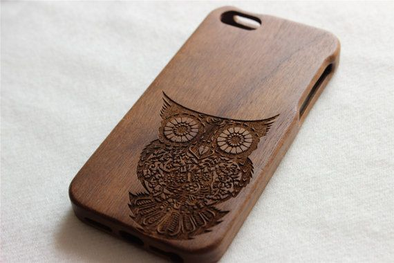 iphone 5s case , Wood iphone 5 case , Engraved owl wood iphone 5s case , Walnut wood iphone case , wooden iphone 5 case on Etsy, $23.85