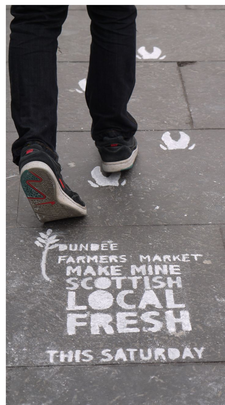 """As an advertising campaign we wanted something that would portray the natural and ecological side of the event while keeping with the """"maker"""" quality as well. As a solution we went for zero-waste campaign that utilised the high footfall of the area where the event was held. The week of the farmers' market the logo with necessary details was stenciled on footpaths near to the event site."""