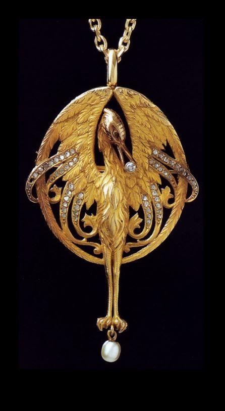 Lluis Masriera - Art Nouveau Pendant. Gold, pearl, diamonds.