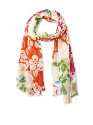 71% OFF Saachi Women's Floral Sophistication Scarf, Ivory/Orange, One Size