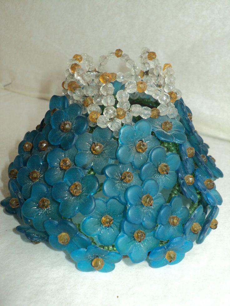 Details About Antique Vtg Czech Glass Beaded Flower Shade