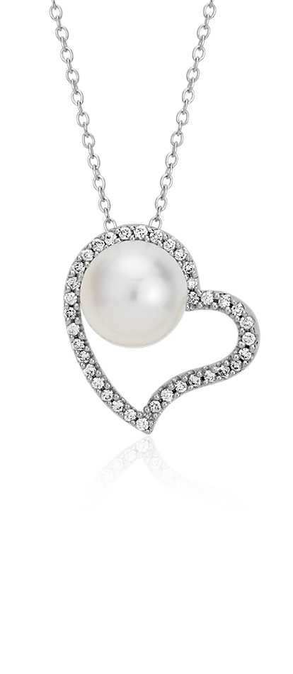 Freshwater Cultured Pearl and Diamond Heart Pendant in 14k ...