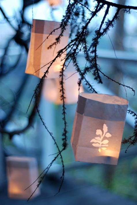Illuminated Pattern Paper Lanterns - a great idea for nighttime decorations. Simple and elegant! Though, for safety reasons, I'd suggest using fake tea lights.