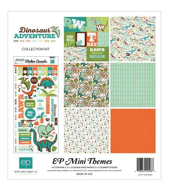 Echo Park Paper Company Dinosaur Adventure Scrapbooking Kit