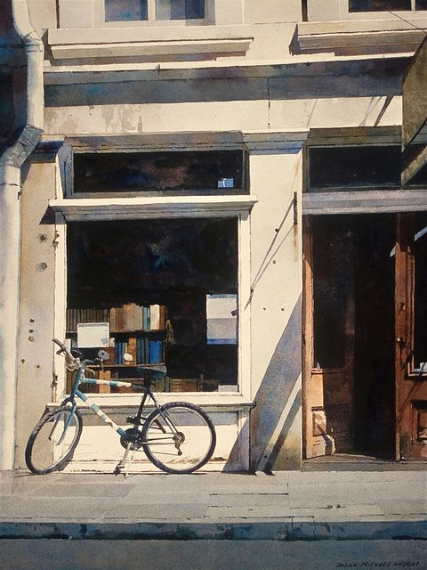 French Quarter Bookstore - Dean Mitchell American b.1957Watercolours