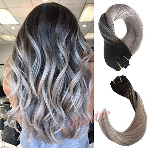 Buy Clip Real Hair Extensions Thicken Natural Black Fading Silver Gray Brazilian Hair 120G 7 Pcs Double Weft Silky Straight Human Hair Remy Clip Extensions Full Head 14 Women Girls online