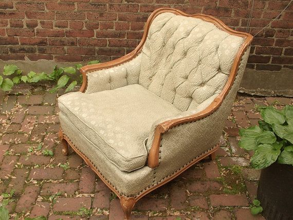 Vintage 1940's French Provincial arm chair, pale green brocade, tufted, shabby chic bedroom furniture, antique chair, bedroom chair
