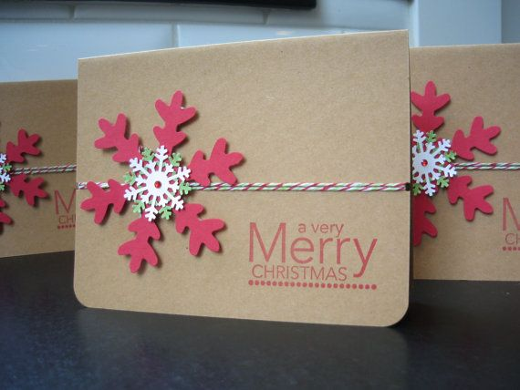 Handmade Snowflake Kraft Christmas Cards Set of by apaperaffaire, $22.00