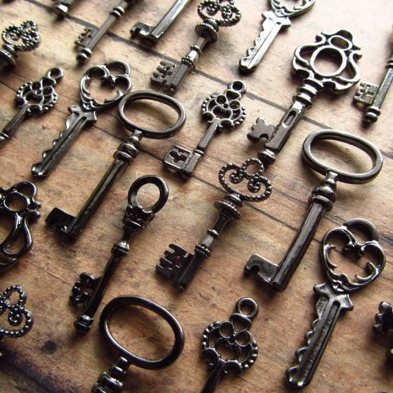 The Arcadia Collection - Skeleton Key Charm Assortment in BLACK/GUNMETAL- Set of…