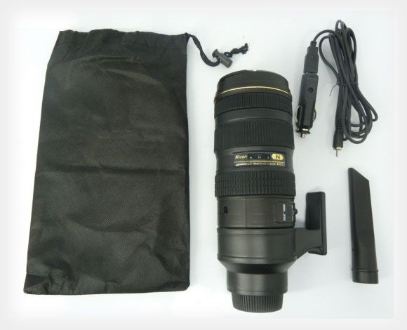 Portable Vacuum Cleaner in the Shape of a Nikon 70-200mm Lens