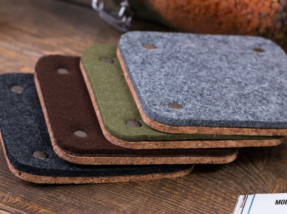 #coaster #felt #cork #gift #corkcoasters #feltcoasters   Square felt coasters set of 4 Coasters for drinks Thick by POPEQ