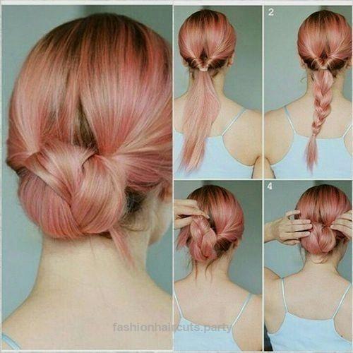 Elegante alltägliche Hochsteckfrisuren für mittleres Haar