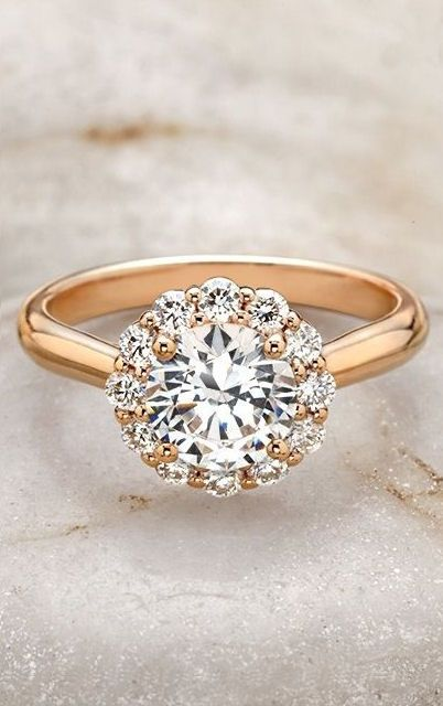 Lotus Halo Ring //in white or rose gold, this would be perfect!!