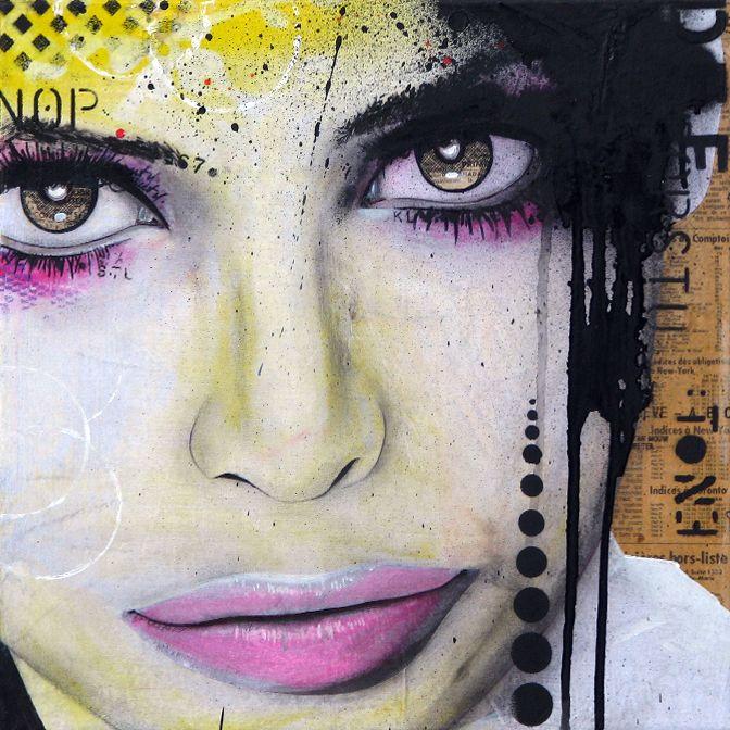 """VIENS. Technique mixte sur toile. 35.5 x 35.5 cm / Mixed media on canvas. 14'' x 14"""". Novembre 2014, november. Artiste-peintre: Tone. www.t-pakap.net"""