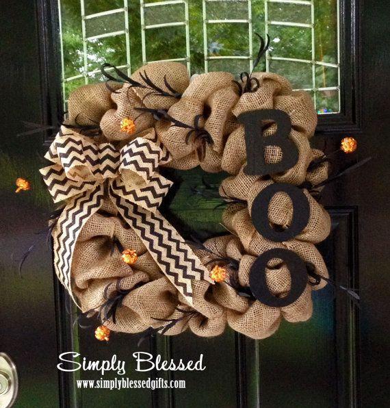 Square Chevron Burlap Wreath for Halloween - BOO - Orange Pumpkins, Fall by SimplyBlessedGift