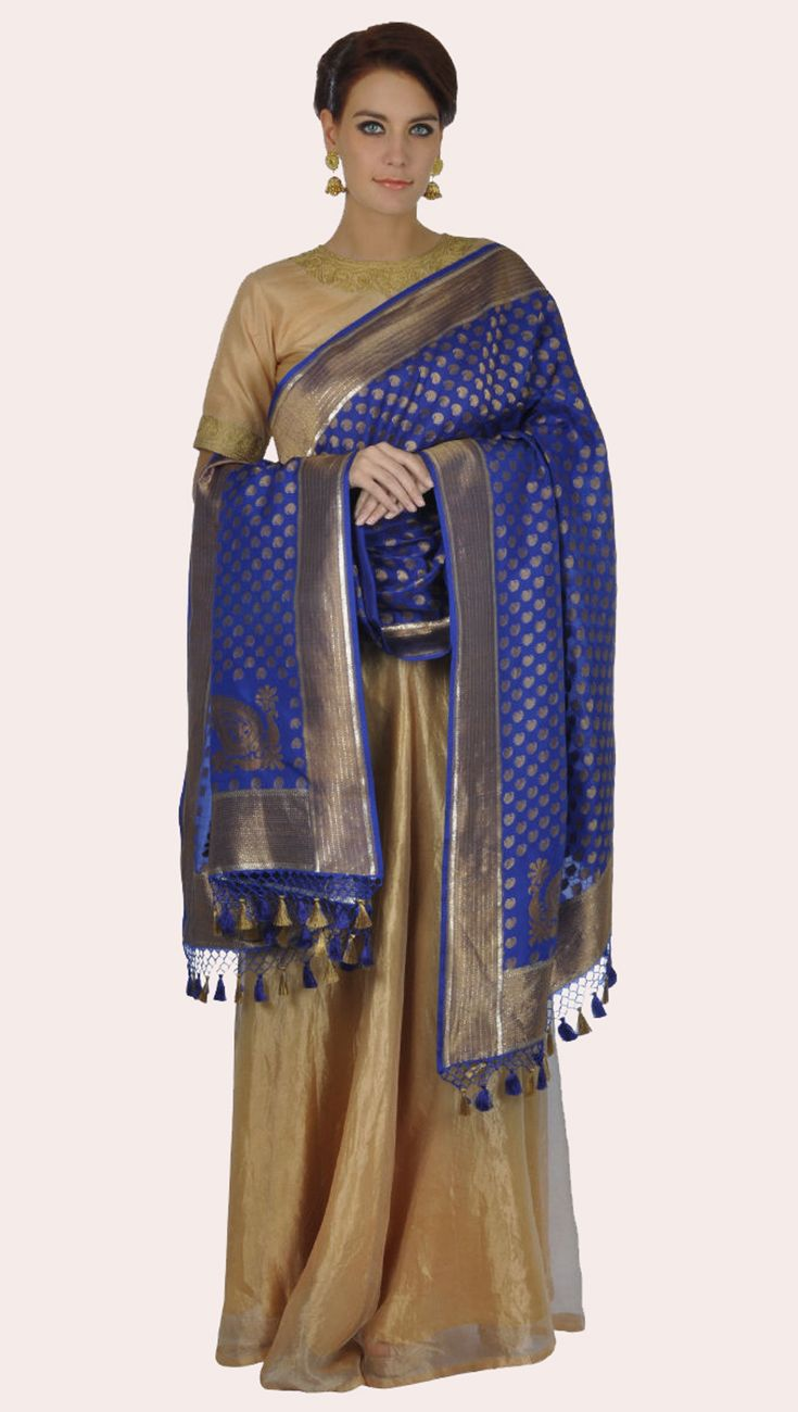 Electric Blue Banarasi Dupatta With Tilla Embroidered Top And Skirt