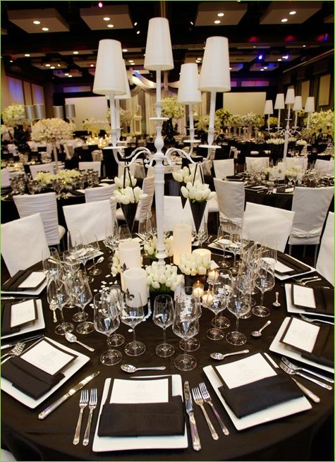 Modern Table Setting, Modern Centerpieces, Tall Centerpieces, Black and White Wedding Decor, Lamp Centerpieces,