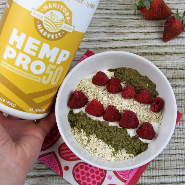 15 grams of powerful protein with each serving of Hemp Pro 50 Plant Based Protein from Manitoba Harvest.  Enjoy with plain Greek yogurt, rolled oats and fresh raspberries