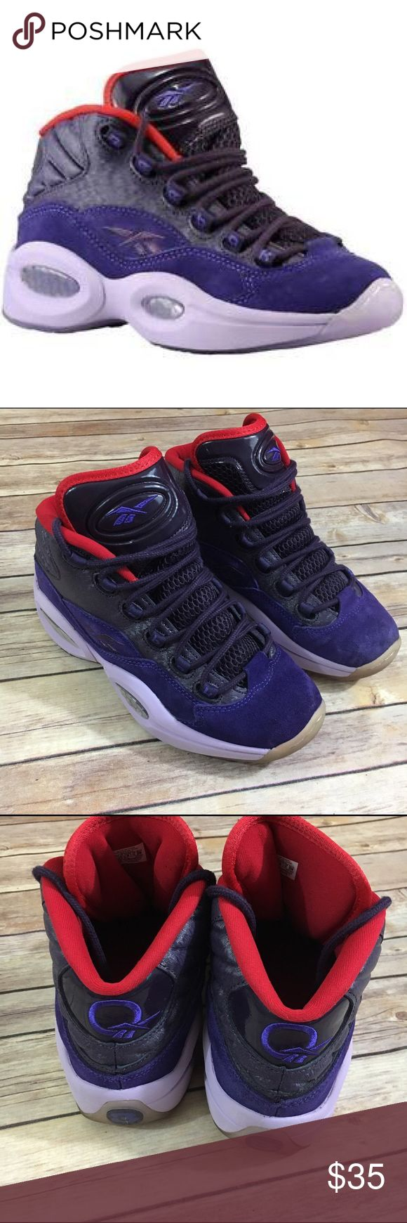 Reebok Question Mid Iverson Ghosts of Christmas 7 Reebok Question Mid Iverson Ghosts of Christmas Future 7  Mid top sneaker Lace up closure  Honeycomb air bubble sole for comfort  Great condition.  Very little wear.  A little staining on toes.  Very nice shoe.  #purple #red #kicks #coolkicks #alleniverson #ghostsofchristmasfuture #midtop #sneakers #summerkicks #suede #basketball #athleisure Reebok Shoes Sneakers