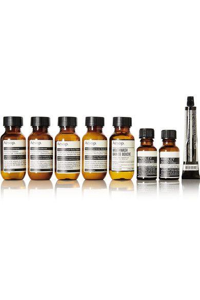 Instructions for use: See packaging for full instructions Comes with a wash bag Classic Shampoo, 50ml/ 1.7fl.oz.; Classic Conditioner 50ml/ 1.7fl.oz.; Rind Concentrate Body Balm 50ml/ 1.7fl.oz.; Geranium Leaf Body Cleanser 50ml/ 1.7fl.oz.; Mouthwash 50ml/ 1.7fl.oz.; Parsley Seed Antioxidant Facial Toner 15ml/ 05.fl.oz.; Parsley Seed Facial Cleanser 15ml/ 05.fl.oz.; Parsley Seed Antioxidant Hydrator 15ml/ 05.fl.oz.