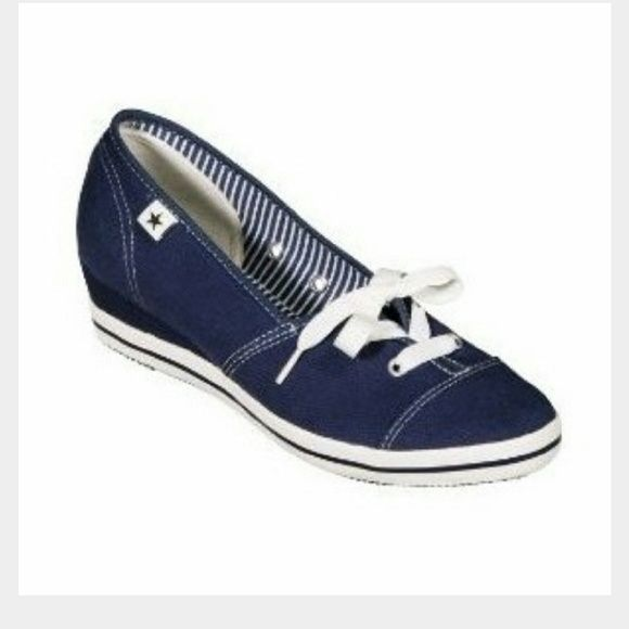 LADIES CONVERSE WEDGES!!! Super cute wedges by Converse One Star.  Blue cotton twill.  New without tags.  Wear with jeans, shorts, or skirt!  Excellent condition. Converse Shoes