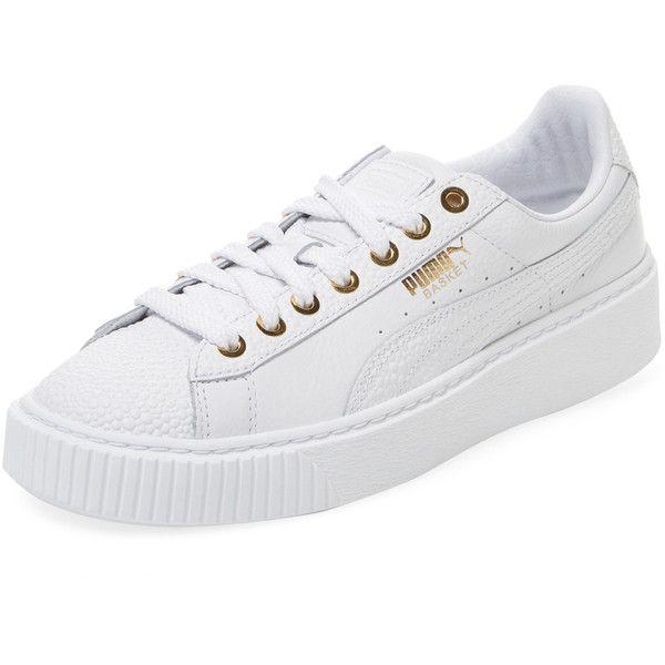 Puma Women\u0027s Basket Platform Pearlized Low Top Sneaker - White, Size... (