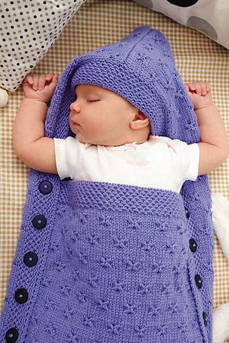 "Ravelry: #28 Hooded Sleep Sack pattern by Jeannie Chin in ""60 More Quick Baby Knits"""