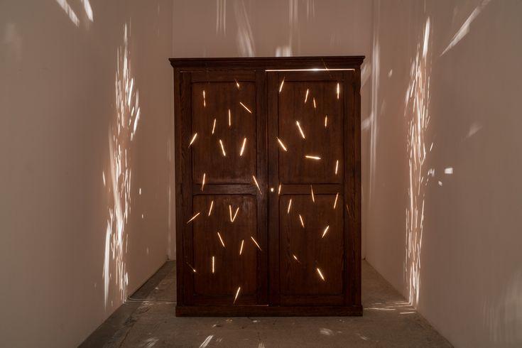 Sislej Xhafa, Fireworks in my Closet, 2016, closet, light bulbs. Galleria Continua San Gimignano, 2016. Photo by: Ela Bialkowska.