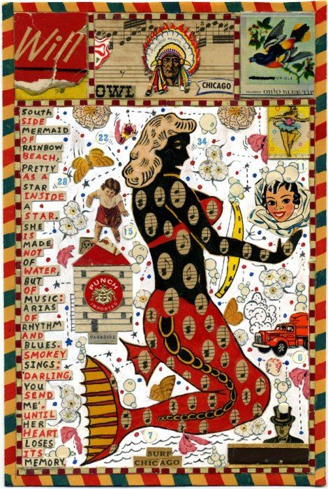 """ La Sirena Clandenista "" … Drawing and Collage by Artist: Tony Fitzpatrick"