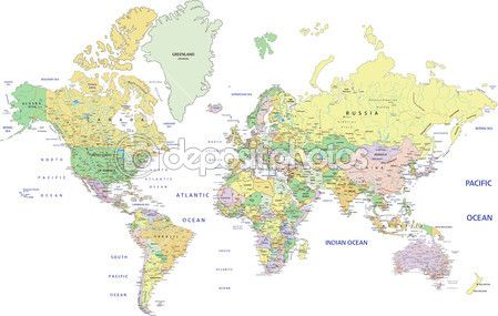 Political World map with labeling. — Stock Illustration #63375545