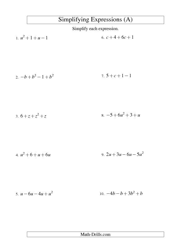 Algebra Worksheet Simplifying Algebraic Expressions With E Variable And Four Terms A Algebraic Expressions Translating Algebraic Expressions Algebra Worksheets