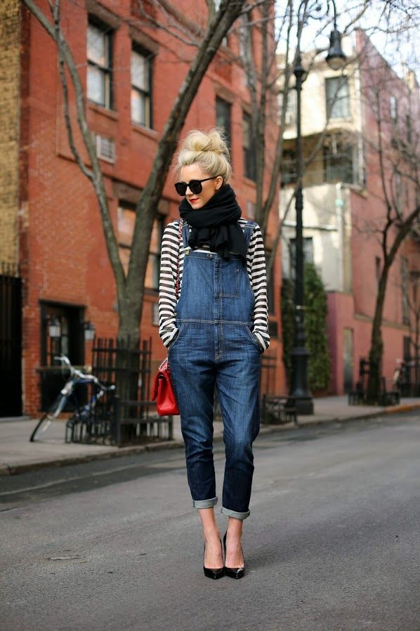 heels + cuffed overalls + stripes.