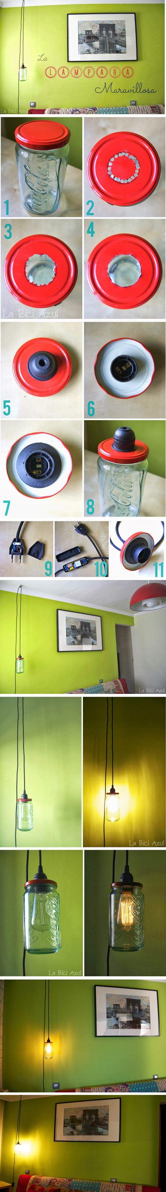 Lámpara DIY con un tarro - labiciazul.es - DIY Mason Jar Lamp