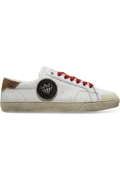 Saint Laurent - Court Classic Suede-trimmed Appliquéd Distressed Leather Sneakers - White