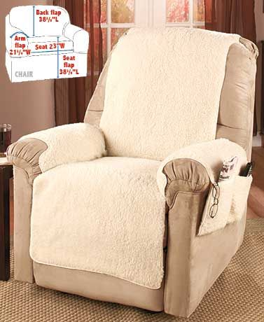 Make your favorite chair more comfortable than ever and protect it from spills with a Fleece Recliner Cover. Soft and warm, it feels like real sheepskin, but it