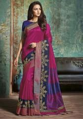 Rani Pink Color Tusser Silk Designer Party Wear Sarees : Pranik Collection YF-63911