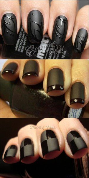 Matte Look! I am Sooo going to do this for fall! Watch ME! Especially the middle! Beautiful nail art #design #polish #nail #nailart #art #polish #nailpolish #nails #women #girl #shine #style #trend #fashion  #pastel #color #colorful #colors #matte #black #fully #black