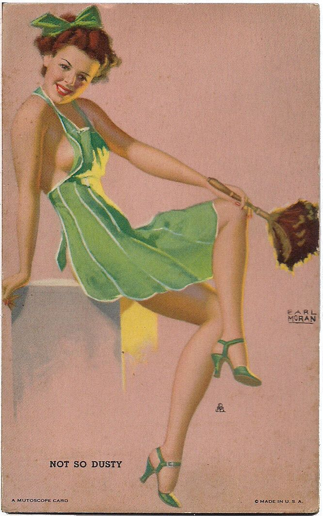 "Original 1940s EARL MORAN Not So Dusty MUTOSCOPE Arcade card ""Hotcha Girls"" series"