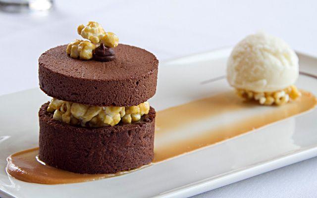 Incredible dessert... chocolate cake, chocolate mousse, caramel popcorn, salted butter ice cream and caramel sauce.