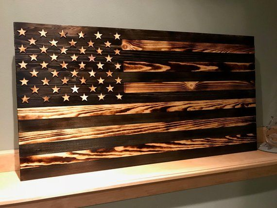 Handmade Burnt Wood And Stained American Flag Large 37 5 X19 5 American Flag Wood Wooden American Flag Wooden Flag