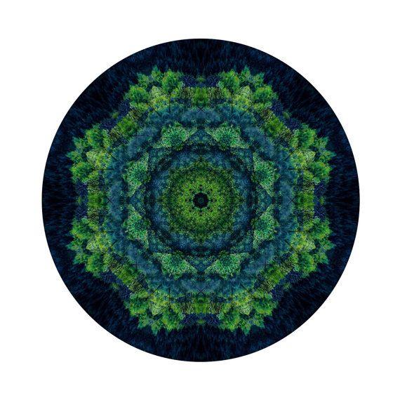 Extra large wall art - Green Circle Art - Green Mandala Art - Meditation - Statement Art - Forest Art  - Spiritual Art