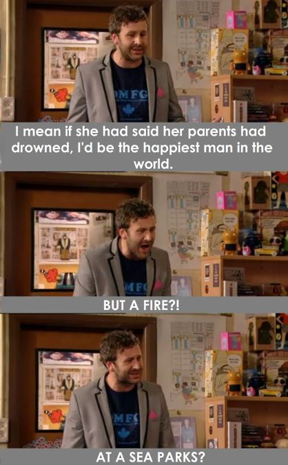 IT Crowd. Roy. I mean if she had said her parents had drowned, I'd be the happiest man in the world. BUT A FIRE?! AT A SEA PARKS?