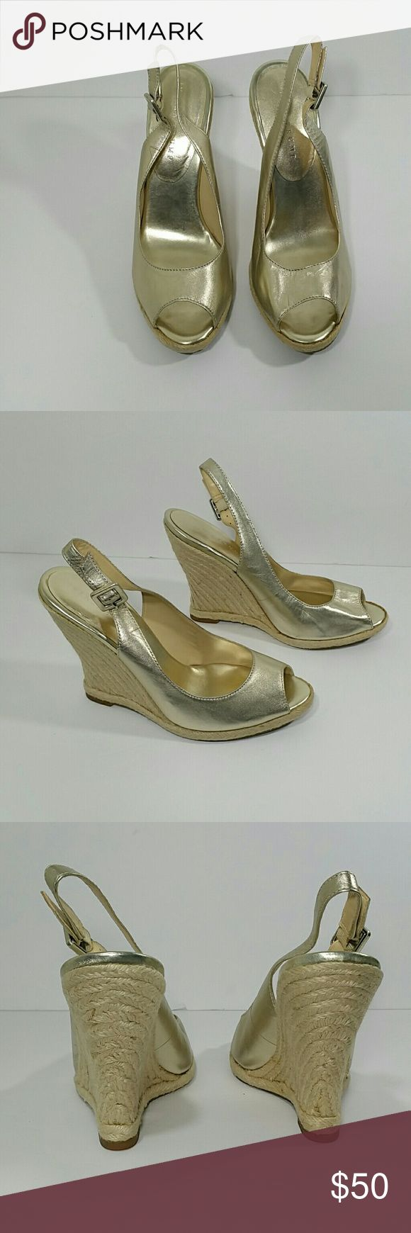 Ivank Trump Gold Espadrille Wedge Sandals Very cute gold espadrille wedge sandals in excellent condition, worn a few times Ivanka Trump Shoes Espadrilles
