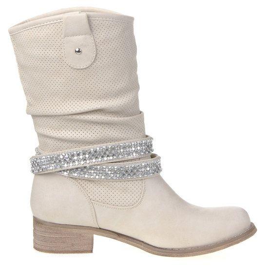 Dames laarzen / cowboy kuitlaarzen met riempje - beige - Goedkope schoenen bestellen? Cowboy laarsjes, biker boots, high heels laarzen, pumps, sneakers, sandalen en meer!